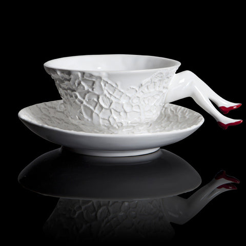 Blaue Blume tea cup by Undergrowth Design. Red shoes, ceramics