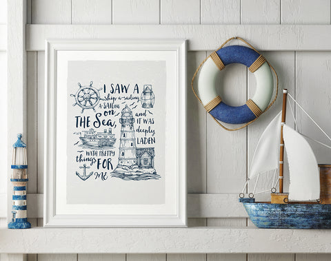 Ship A - Sailing Print by Baldy and the Fidget