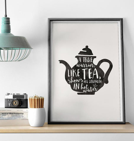 Warrior Tea Print by Baldy and the Fidget