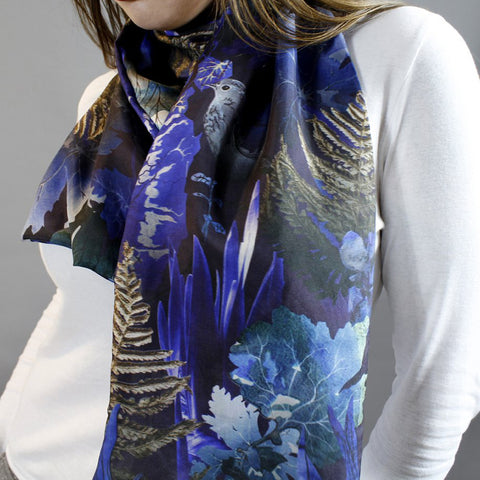 Woodland Undergrowth Silk Scarf by Terrarium