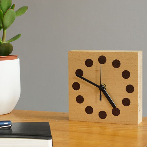 Walnut Wood and Beech Wood Blockclock by East Design
