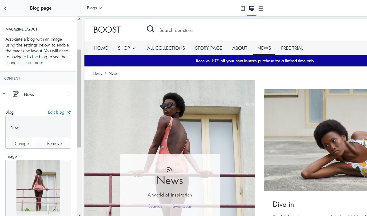 Boost Theme for Shopify: Magazine layout for the blog page
