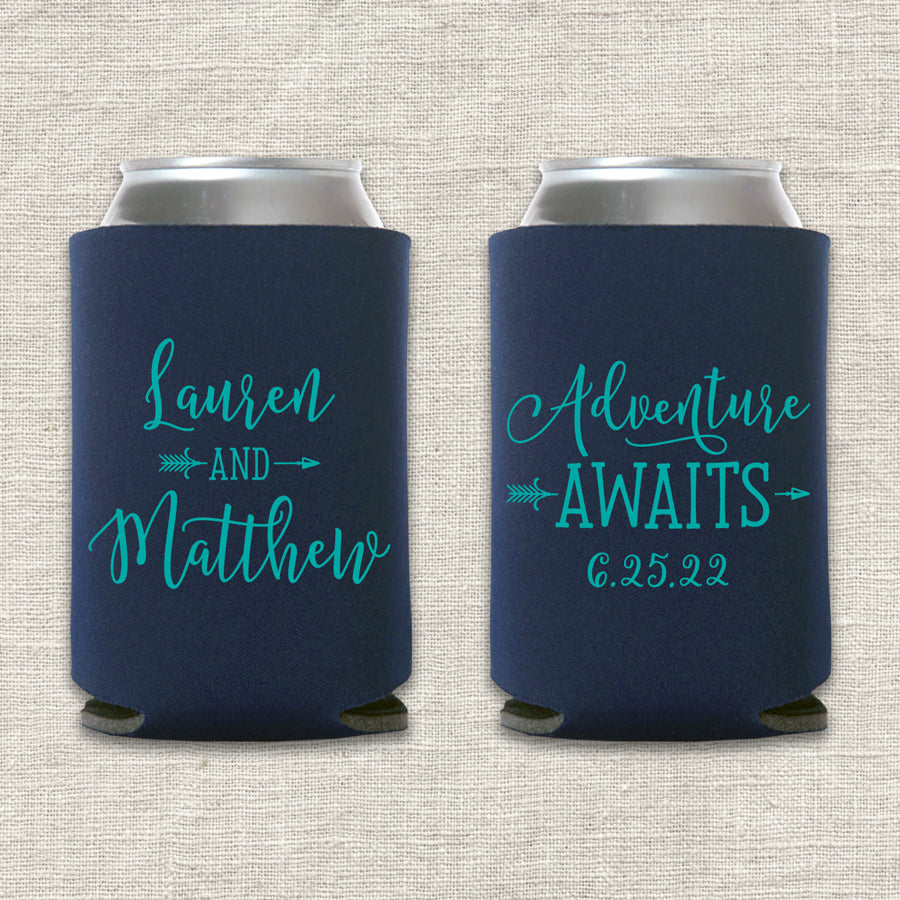 Adventure Awaits Wedding Koozie