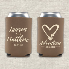 Adventure Begins Wedding Koozie