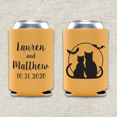 Black Cats Halloween Wedding Koozie