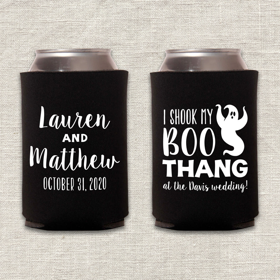 Boo Thang Halloween Wedding Koozie
