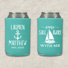Come Sail Away With Me Nautical Wedding Koozie