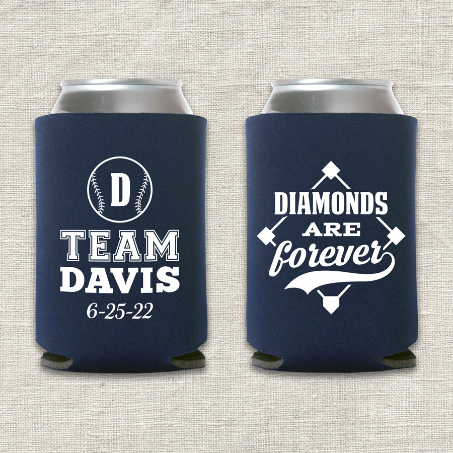 Diamonds Are Forever Baseball Wedding Koozie