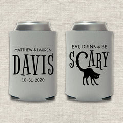 Eat, Drink & Be Scary Halloween Wedding Koozie