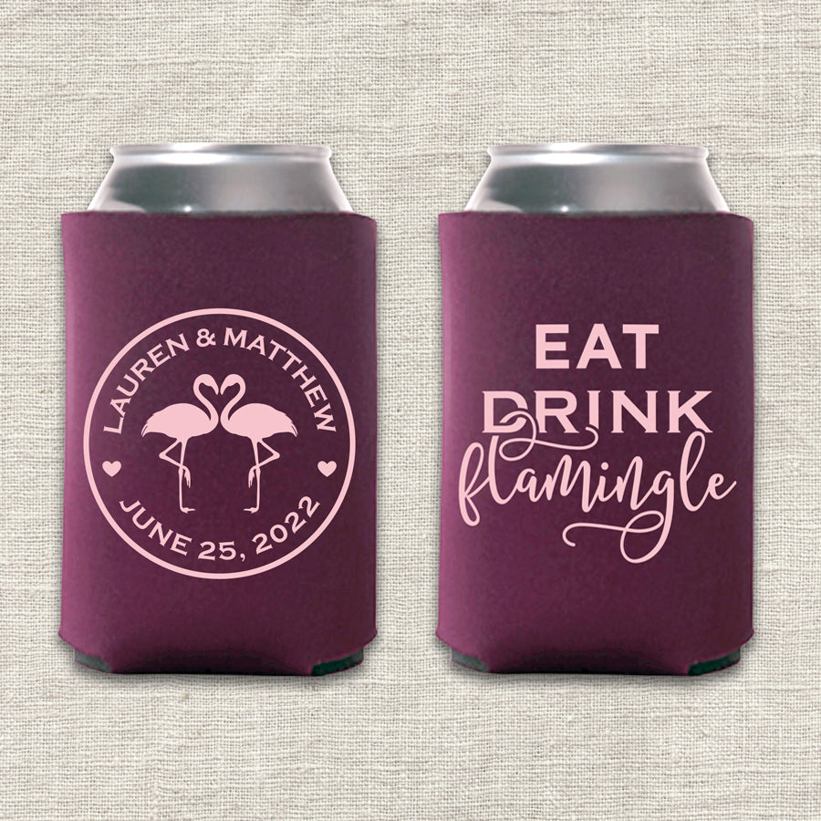 Eat, Drink, Flamingle Wedding Koozie