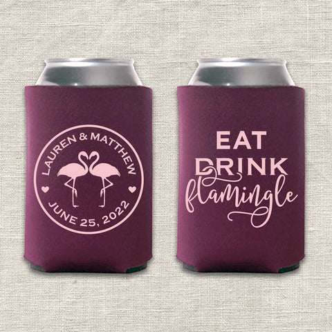 Eat, Drink, Flamingle Can Cooler