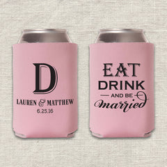 Eat, Drink & Be Married Wedding Koozie