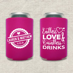 Endless Love and Countless Drinks Wedding Koozie