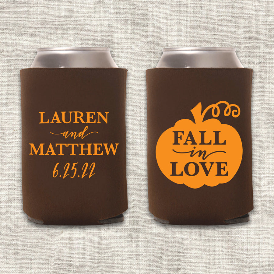 Fall in Love Pumpkin Wedding Koozie
