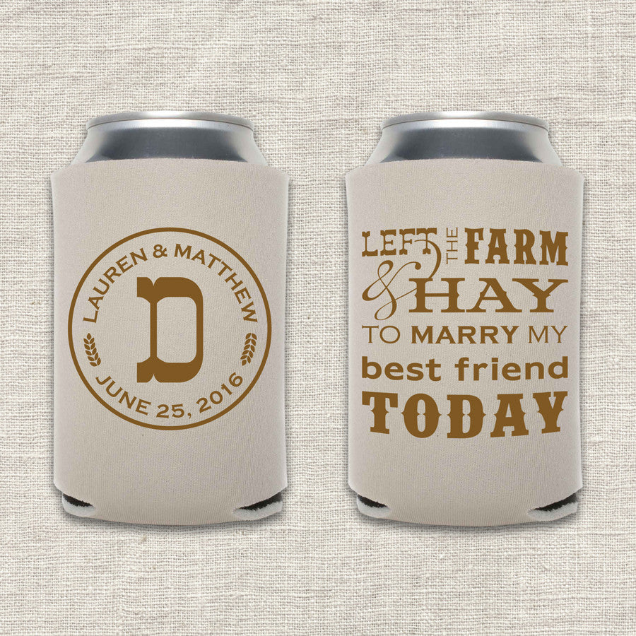 Farm & Hay Wedding Koozie