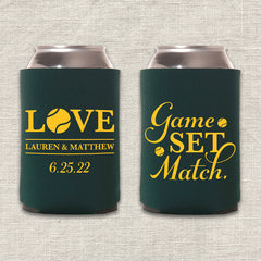Game Set Match Tennis Wedding Koozie