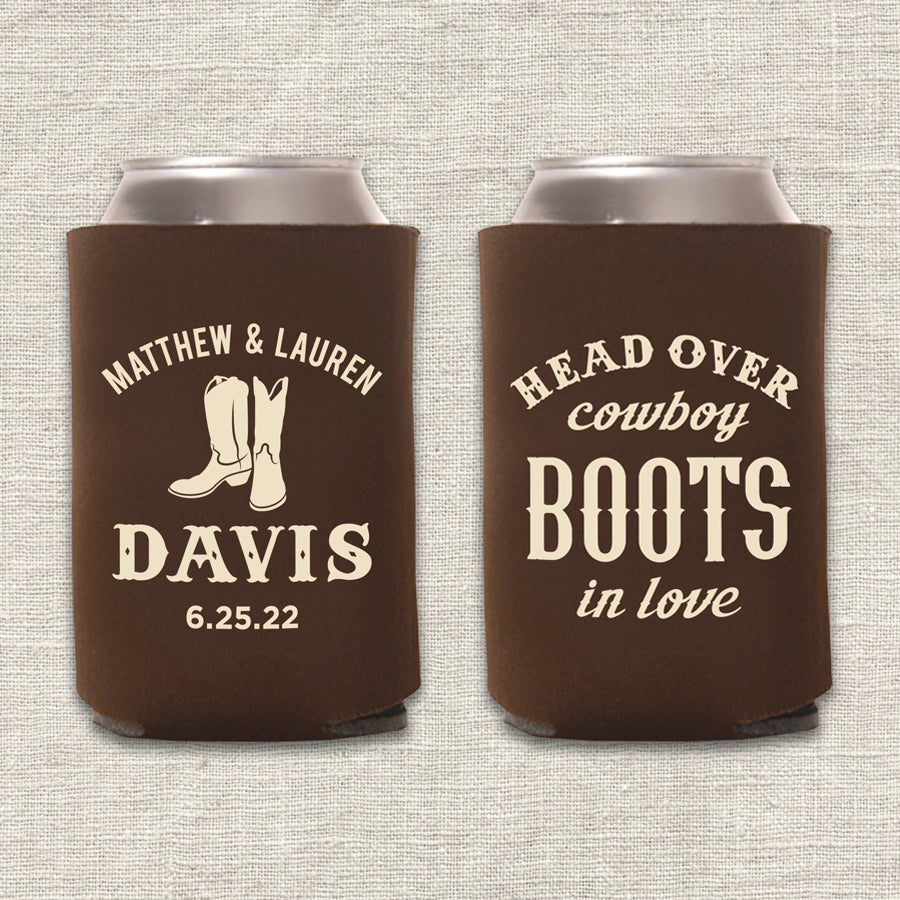 Head Over Cowboy Boots in Love Wedding Koozie