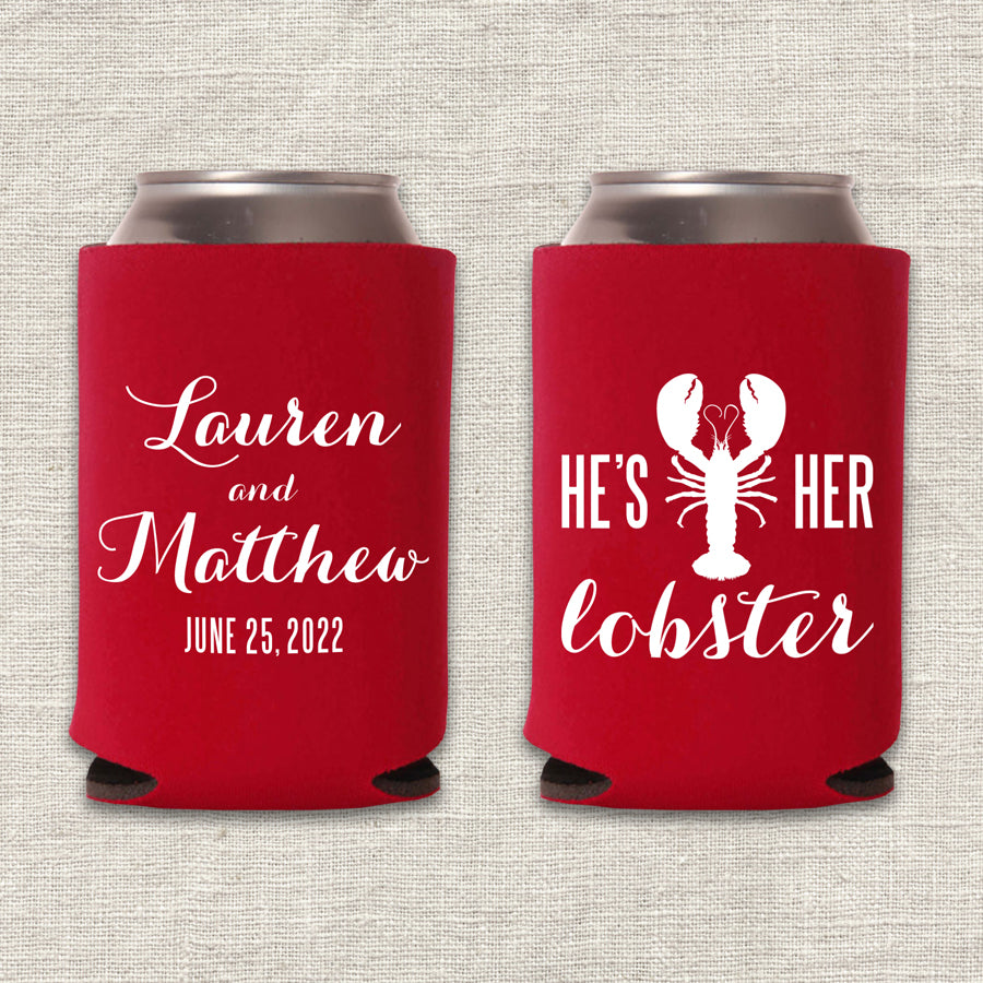 He's Her Lobster Friends Wedding Koozie