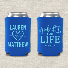 Hooked for Life Fishing Wedding Koozie