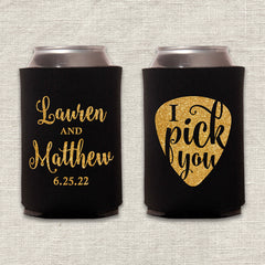 I Pick You Guitar Pick Wedding Koozie