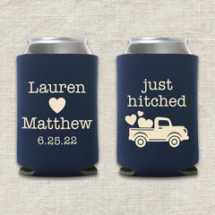 Just Hitched Truck Wedding Koozie