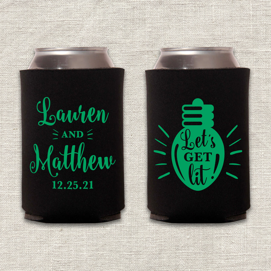 Let's Get Lit Christmas Wedding Koozie