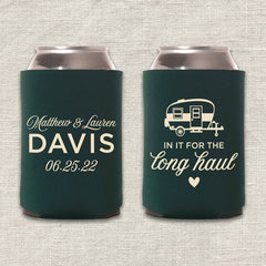 In It for the Long Haul Camping Wedding Koozie