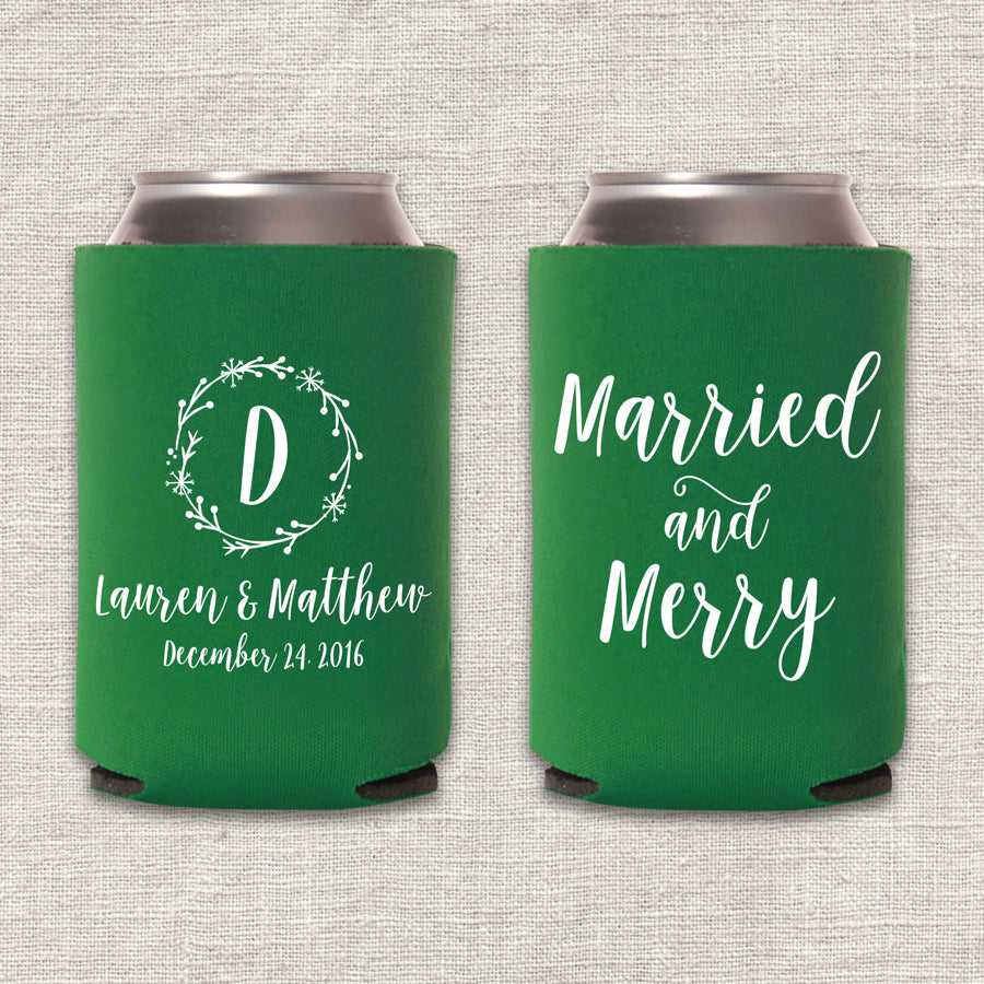 Married and Merry Christmas Wedding Koozie