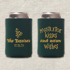 Mistletoe Kisses and Warm Wishes Christmas Wedding Koozie