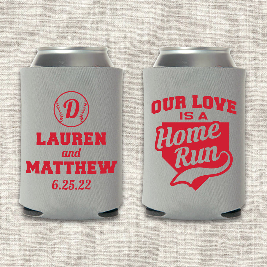 Our Love Is A Home Run Baseball Wedding Koozie
