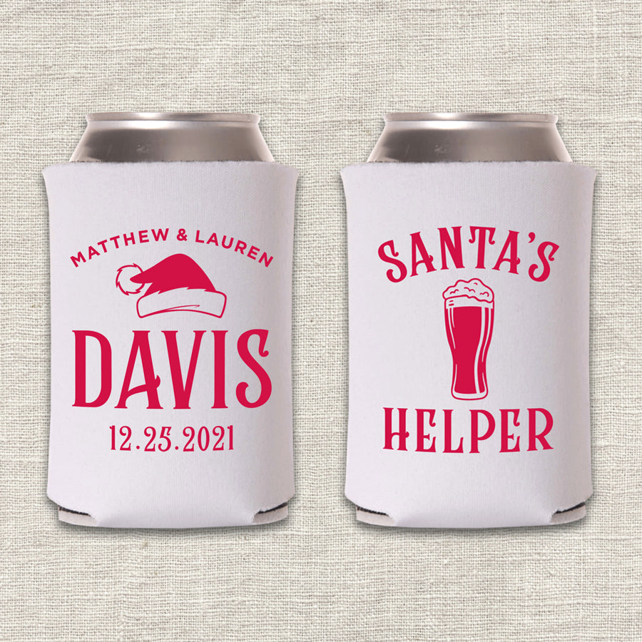 Santa's Helper Christmas Wedding Koozie
