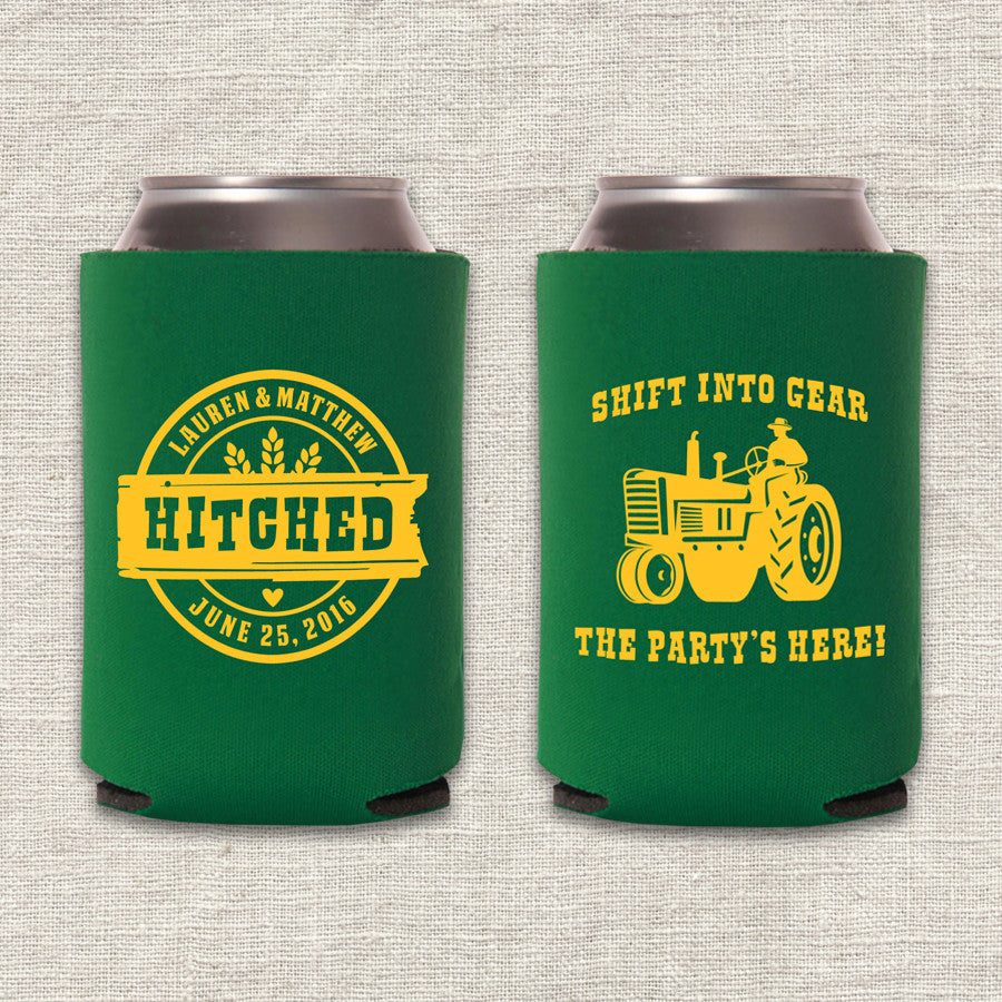 Shift Into Gear Tractor Wedding Koozie