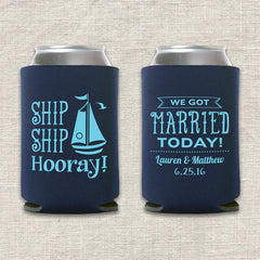 Ship Ship Hooray Nautical Wedding Koozie