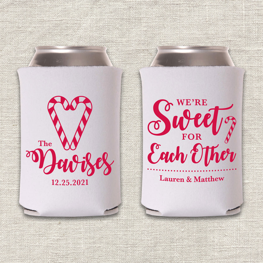We're Sweet for Each Other Christmas Wedding Koozie