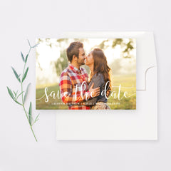 Swirling Script Save the Date Card and Envelope