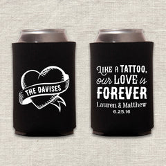 Tattoo Heart Wedding Koozie
