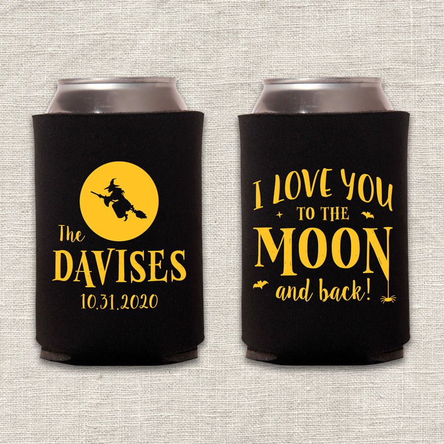 To the Moon and Back Halloween Wedding Koozie