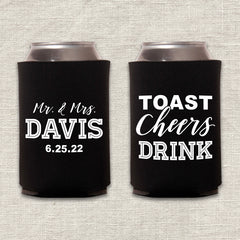 Toast, Cheers, Drink Wedding Koozie