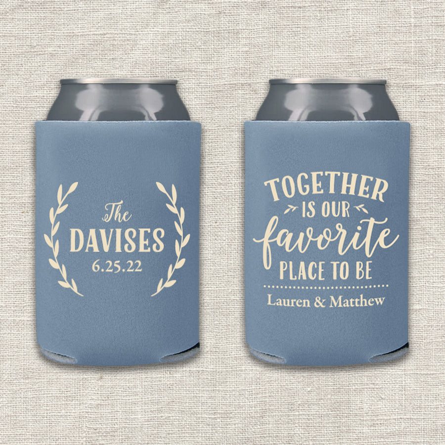 Together Is Our Favorite Place To Be Wedding Koozie