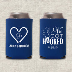 We Got Hooked Wedding Koozie