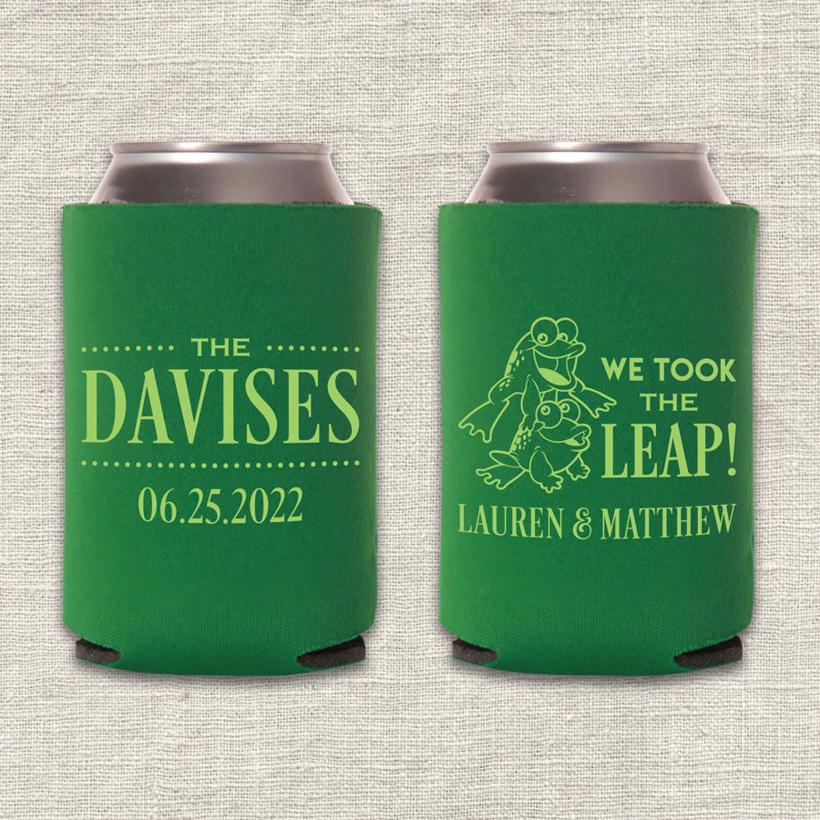 We Took the Leap Frog Wedding Koozie