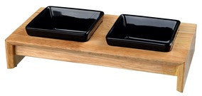 Bowl set, ceramic/wood, 2 × 0.4 l, 36 × 19 × 7 cm, bowls: black