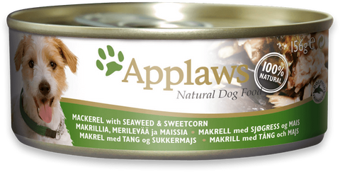 Applaws dog tin Mackarel with seaweed & sweetcorn, 156g