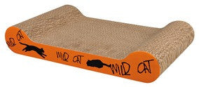 Wild Cat scratching cardboard, 41 × 7 × 24 cm, orange