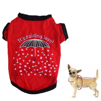 "Dog Tshirt ""It's Raining Love"" Red"