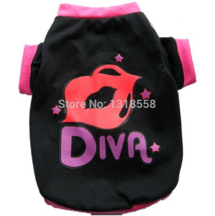 "Dog Tshirt ""Diva"" Black"