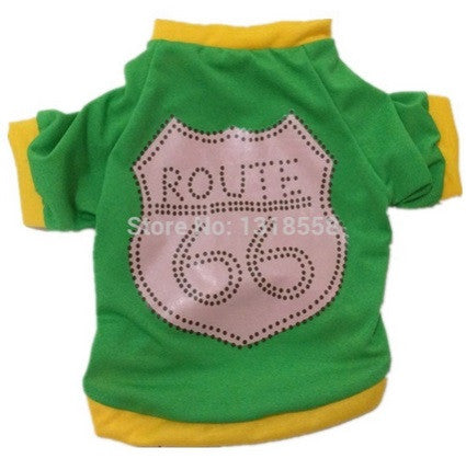 "Dog Tshirt ""Route 66"" Green"