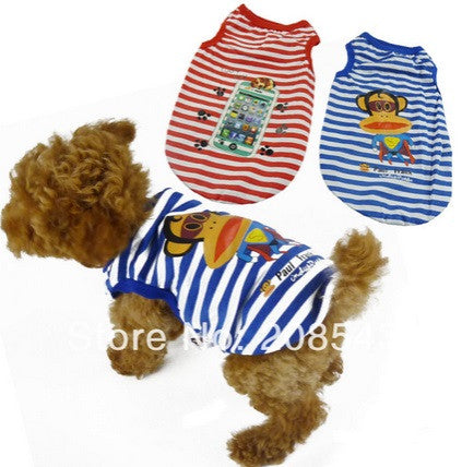"Dog Tshirt ""Striped Monkey'' Red"