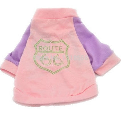 "Dog Tshirt ""Route 66"" Pink"