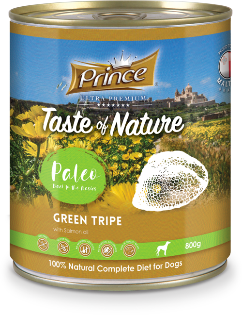 Prince Premium tin, Green Tripe with salmon oil 800g